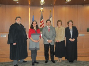 From left to right:  Associate District Judge Russell Keast, Deputy Commissioner of Elections Rebecca Stonawski, Linn County Auditor Joel D. Miller, First Deputy Auditor Becky Shoop, and Deputy Auditor Stacey Law.